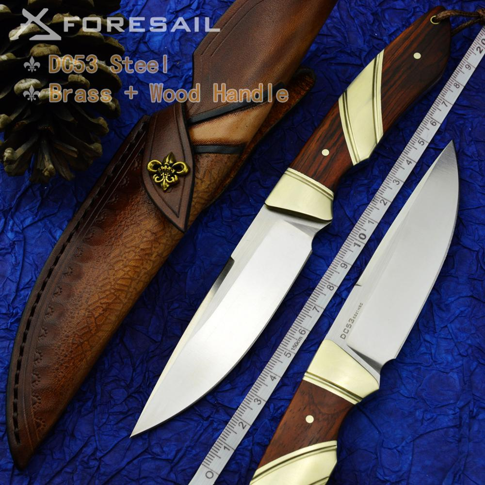 FORESAIL-DC53 steel hunting knife integrated steel straight knife fish knife outdoor survival wild fishing sharp EDC tool knife недорого