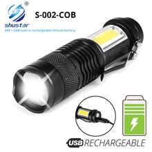 Миниатюрный перезаряжаемый светодиодный фонарик использует лампы XPE + COB, дальность освещения 100 м, для приключений, кемпинга и т. д.