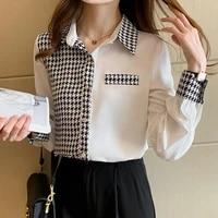 spring 2021 korean fashion plaid shirt stitching houndstooth korean fashion loose casual commuter professional womens blouse