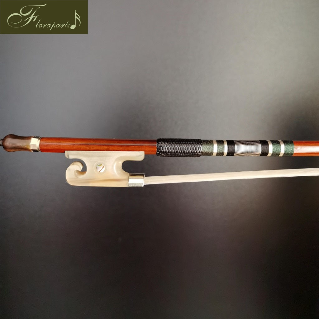 Floraparts 4/4 Size Violin Bow High Quality Brazilwood Round Stick White-Oxhorn Frog English Style Nickel Silver Parts FPZ12 enlarge