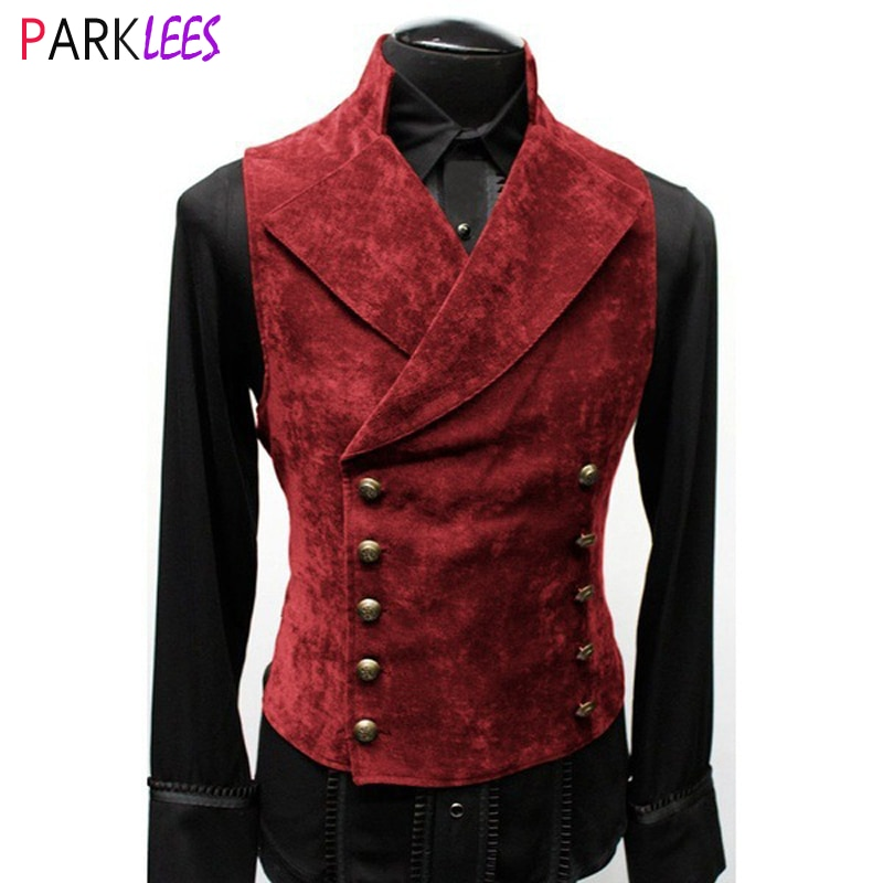 Mens Gothic Steampunk Velvet Vest Retro Medieval Victorian Waistcoat Men Stand Collar Double Breasted Stage Cosplay Prom Costume