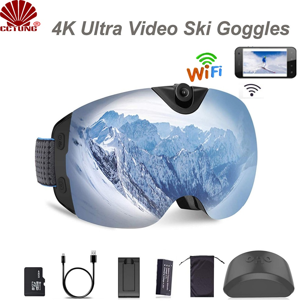 4K Ultra  Video Ski-Sunglass Goggles WIFI Camera with Super 1080P 60fps Video Recording Anti-Fog Snowboard UV400 Protection Lens