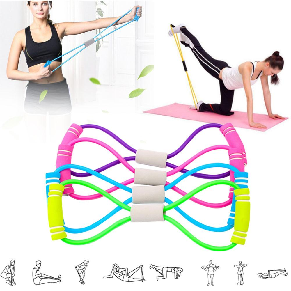 AliExpress - Fitness Resistance Bands 8 Word Tensioner Back Stretch Belt Home Training Device Elastic Elastic Rope Exercise Fitness Equipment
