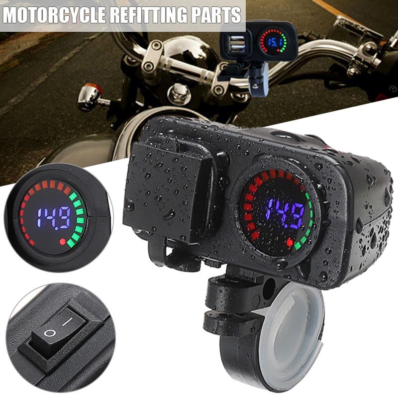 Cargador de teléfono para motocicleta, 1 unidad, pantalla Digital, Scooter, Cargador USB Dual, voltímetro, termómetro para teléfono GPS