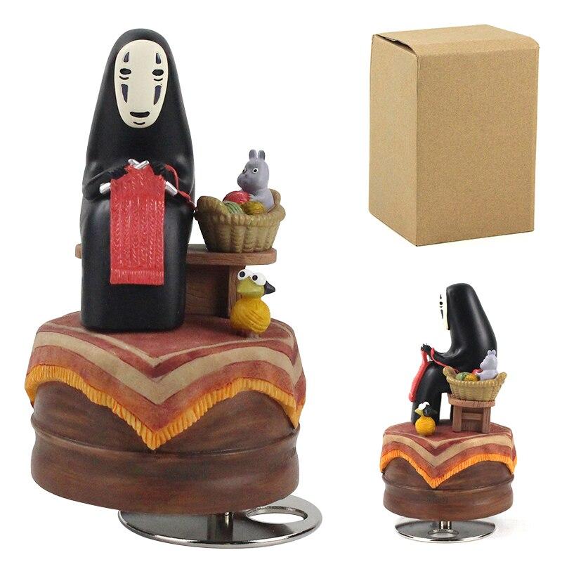 13,5 cm de dibujos animados Hayao Miyazaki Chihiro No cara de hombre de la caja de música figura modelo PVC muñeca Juguetes
