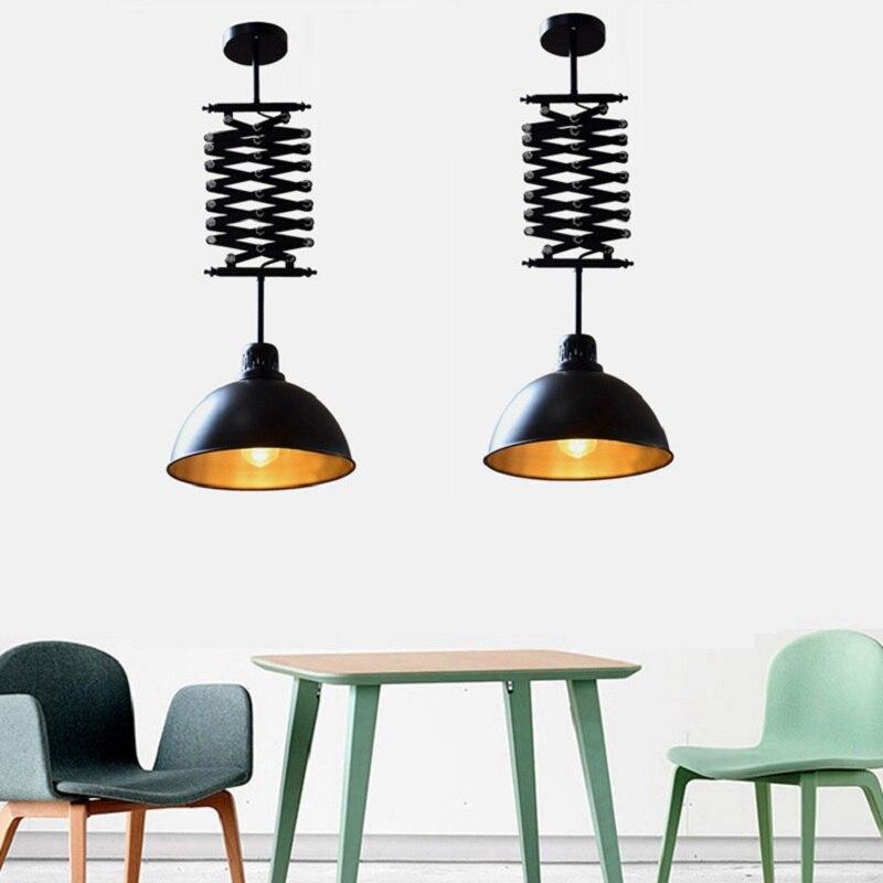 Retro industrial de hierro forjado/vidrio de elevación telescópico araña tienda de ropa cafetería bar techo lámpara LED
