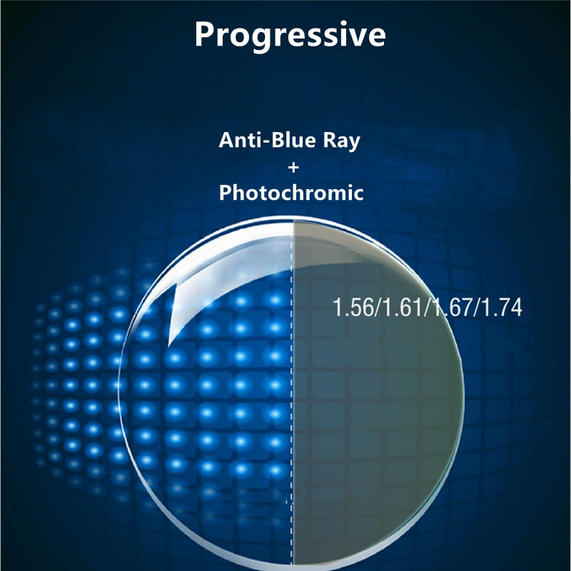1.56/1.61/1.67/1.74 Progressive Anti Blue Ray And Photochromic Lens Multifocal Myopia Resin Lens 1 pair Of Custom Lenses