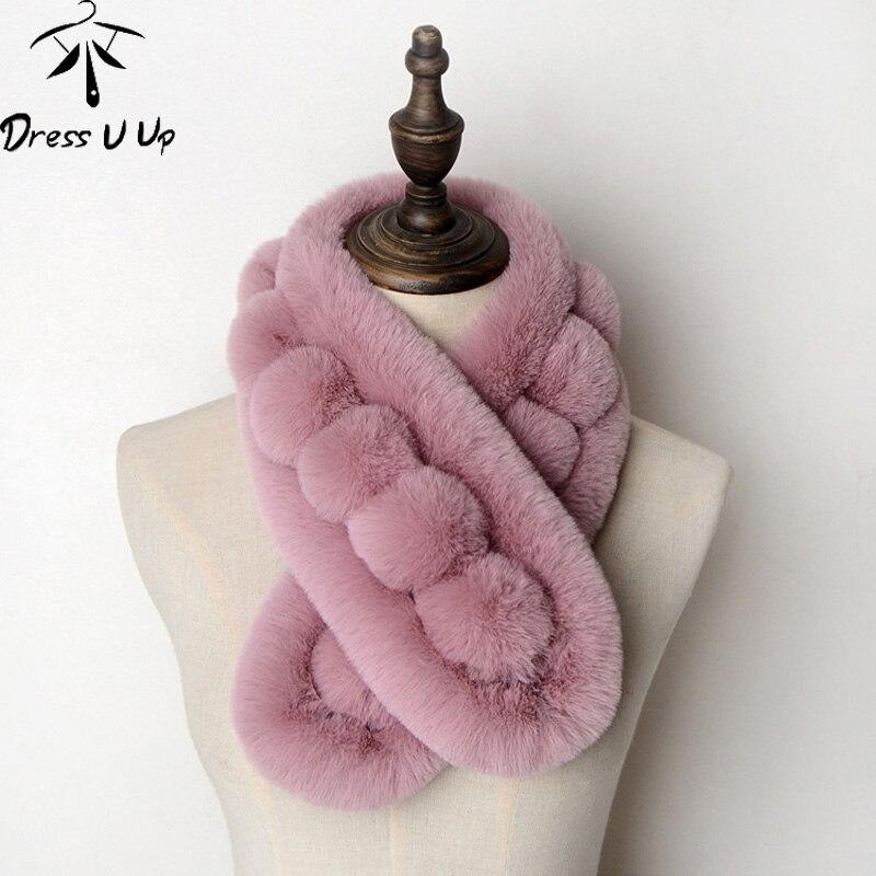 DRESSUUP Faux Rabbit Fur Scarf mujer 2019 moda invierno bufanda cuello cálido bufanda cálido peludo suave chal para mujer