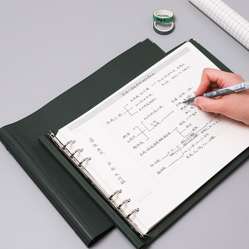 A4 Loose-leaf Binder Notebook Journal Daily Weekly Plan Diary Grid Work Notepad 160 Pages Note Book Soft Leather Office Supplies