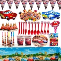disney mobilization theme party disposable tableware set kids favor lightning mcqueen birthday party decorations supllies
