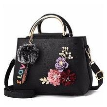 Frauen Tasche Pu Leder Handtasche Frauen Schulter Tasche Blumen Shell Sac EIN Haupt Femme Nieten Fell Ball Anhänger Luxus Designer damen