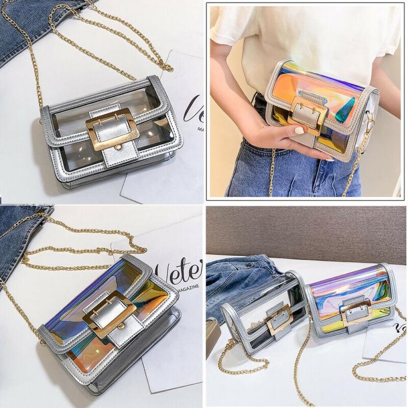 New Women PVC Transparent Clear Shoulder Bag Tote Jelly Purse Wallets Handbag US