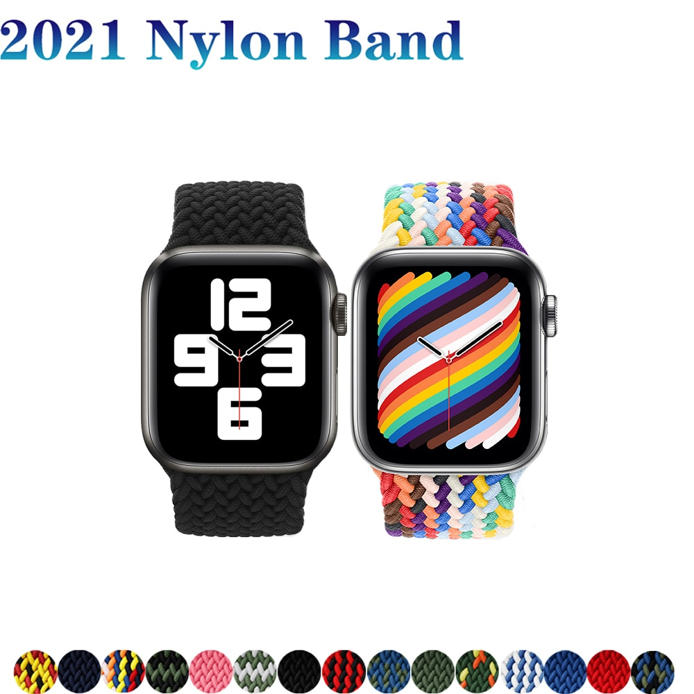 nylon braided solo loop for apple watch band 6 5 3 bands 44mm 40mm 38mm 42mm elastic strap bracelet for iwatch series 6 5 4 2 1 Braided Solo Loop strap For Apple watch band 44mm 40mm iWatch band 42mm 38mm Nylon Elastic bracelet for apple watch 6/SE/5/4/3/2