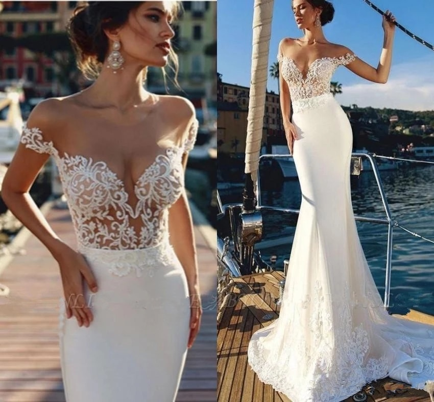 Beach Vestido De Noiva Muslim Wedding Dresses Mermaid Cap Sleeves Satin Appliques Lace Boho Wedding Gown Bridal Dress