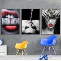 Peinture sur toile avec levres Sexy  affiche de Graffiti dart mural  impression dargent  ravissante fille  decoration de maison moderne pour chambre a coucher