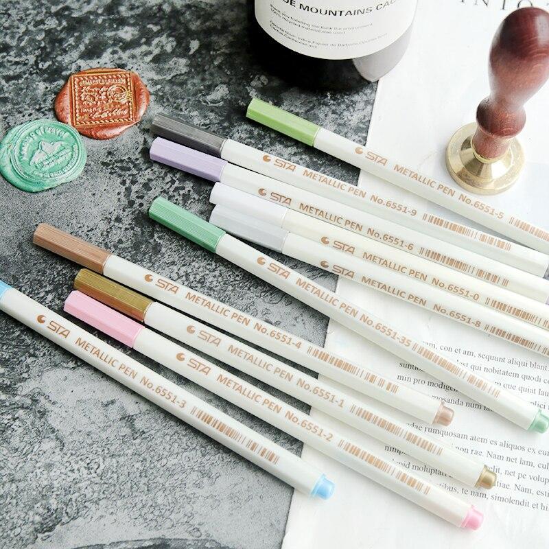 Bolígrafo de cera para sellar, para sello de cera, bolígrafo de marca, decoración, sello de cera, Metal, Color dorado, línea de trazado, bolígrafo de 10 colores