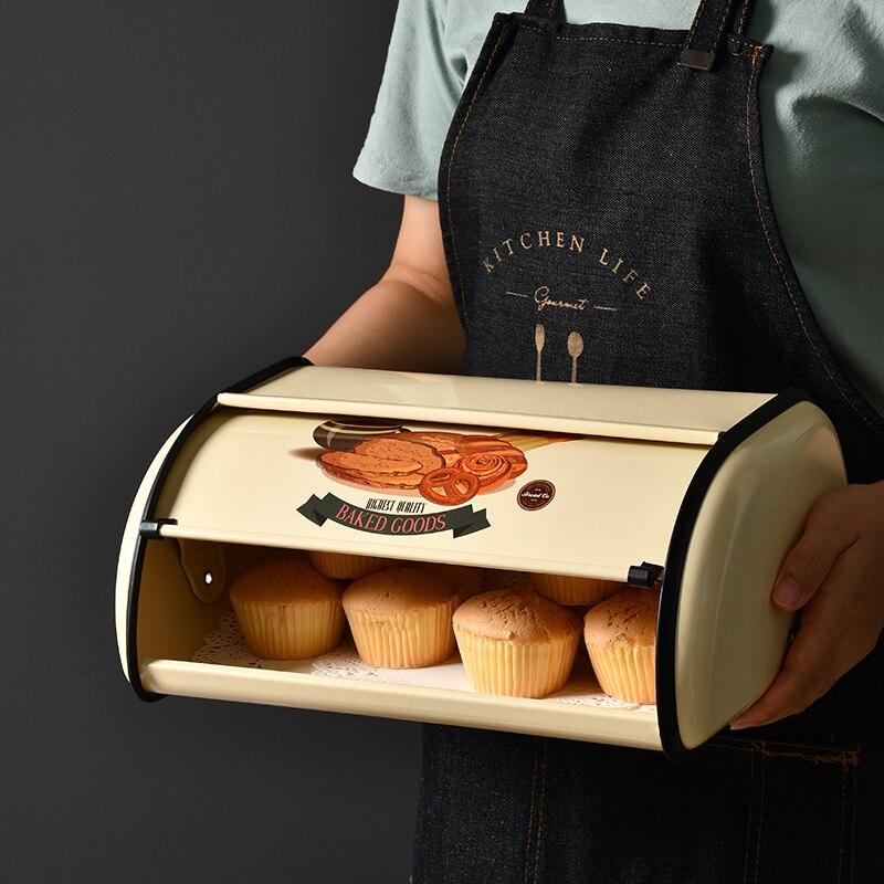 صندوق خبز معدني عتيق ، صندوق تخزين مقاوم للغبار للوجبات الخفيفة ، بسكويت ، كعك ، حديد ، خزانة مطبخ ، حاوية طعام ، ديكور منزلي