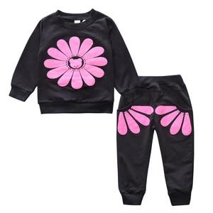 Solid Color Kids Clothes Girl Suits Fashion Children's Clothing Tracksuit Cotton Long Sleeve Tops+Pants Baby Clothes 1-3 Years