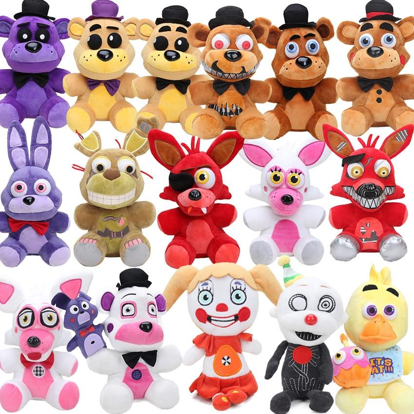 Фнаф фредкрашеный фазбер 18 см, плюшевая игрушка, кукла, Золотой медведь, кошмар, кекс, Фокси, воздушный шар, мальчик, клоун, набивная кукла