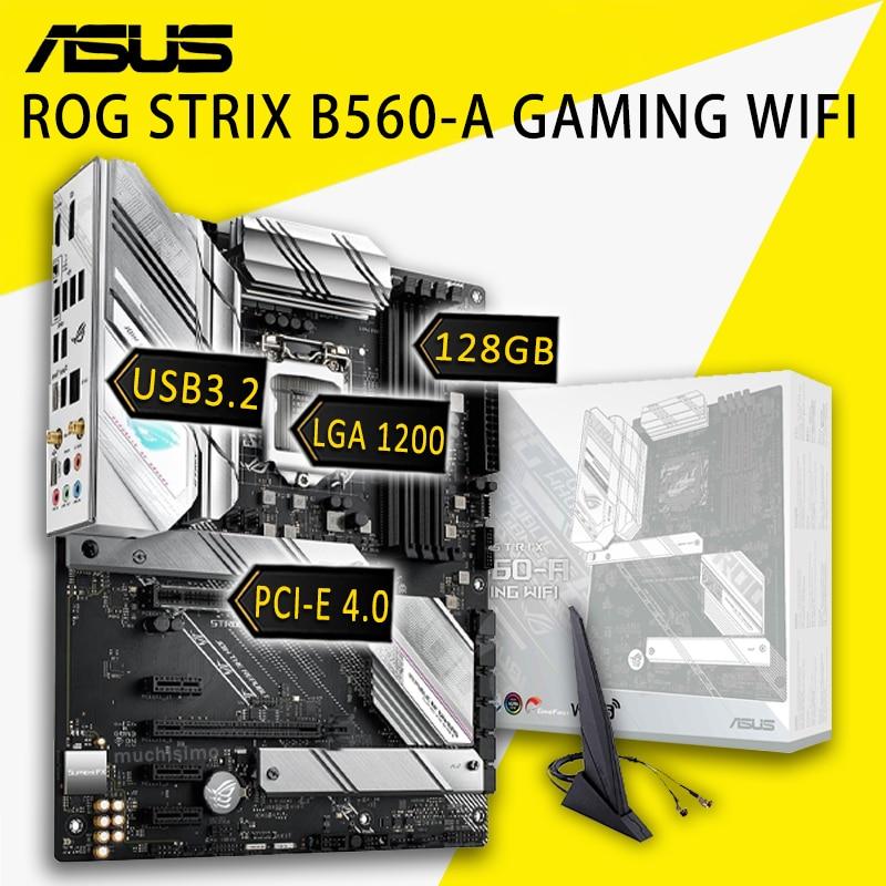LGA 1200 آسوس ROG STRIX B560-A الألعاب واي فاي اللوحة إنتل B560 128GB PCI-E 4.0 متر. 2 SSD ديسبلاي بورت رفع B560 بلاسا-mv1 e