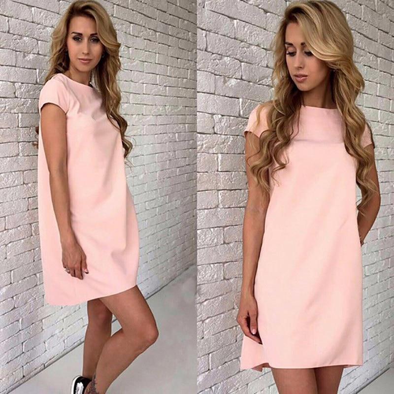Summer Beach Casual Dress Women Female Short Sleeve Loose Mini A-line Dresses Candy Color S-XXL