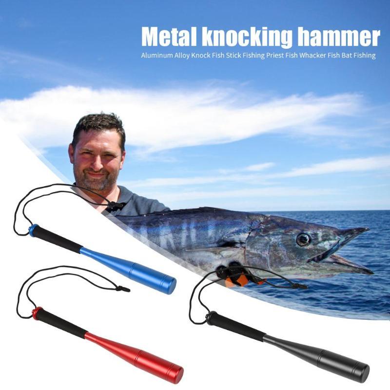 Aluminum Alloy Knock Fish Stick Fishing Priest Durable Fish Whacker Fish Bat Fishing for Outdoor Go Fishing Red/Blue/Black