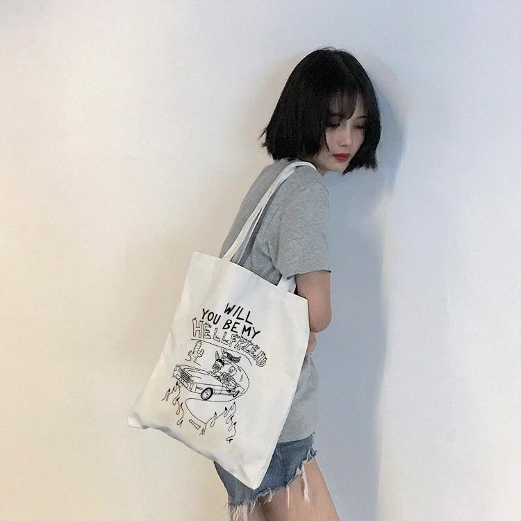 Goth Dark estetic Print mujer bolsos de lona mujer gótico compras Eco reutilizable bolso de hombro plegable bolso Harajuku Tote