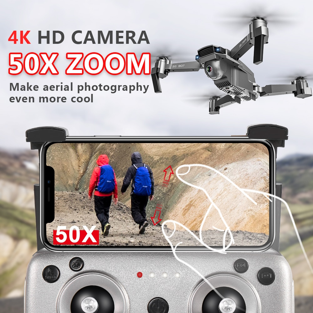 CONUSEA SG907 GPS Drone 4K HD x50 ZOOM Camera 5G WIFI FPV Professional Quadcopter RC Helicopter Foldable Mini dron enlarge