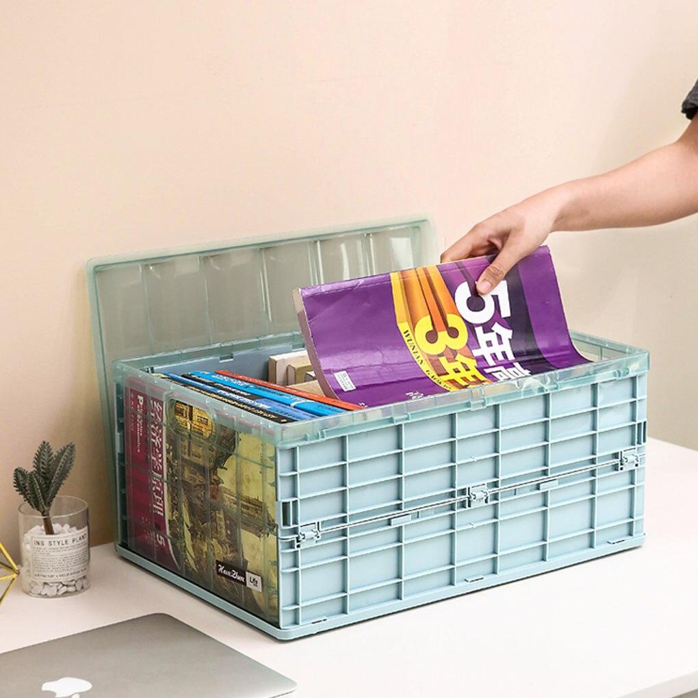 Cor-de-rosa/cinza azul/caqui dobrável caixa de armazenamento de viagem de carro organização armazenamento boxwith tampa de plástico dobrável organizador armário caixa