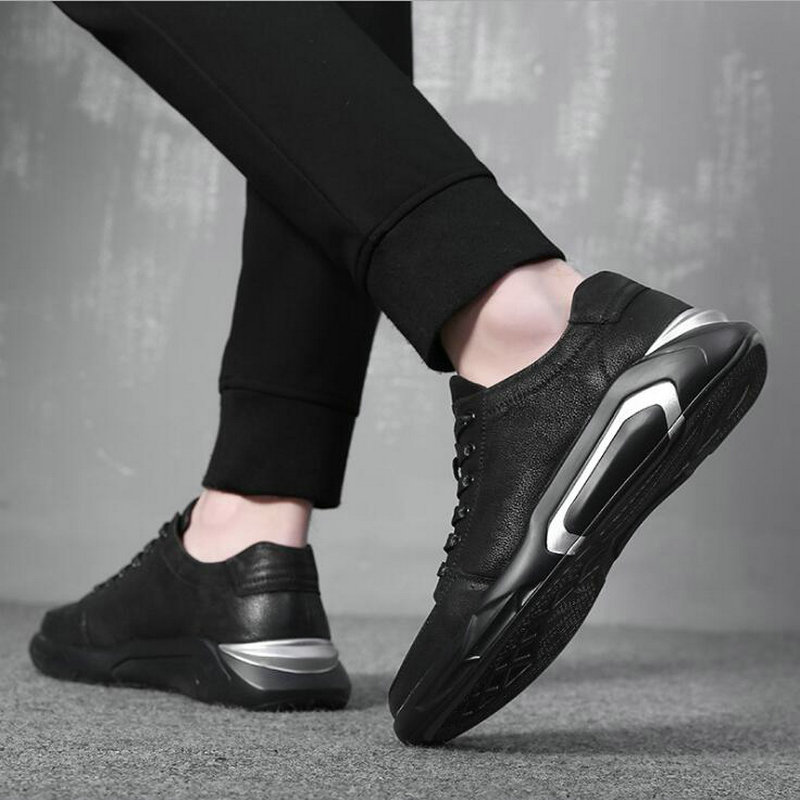 Fashion  Genuine Leather Walking Moccasins Flats Shoes Men cow leather sneaker shoes Men Casual Lace Up All black Shoes A54-23