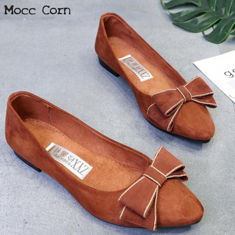 2019 Zapatos de tela plana para Mujer Zapatos de Ballet planos de moda Slip On mocasines Lady Bow Boat Zapatos de verano Casual Mujer mocasines