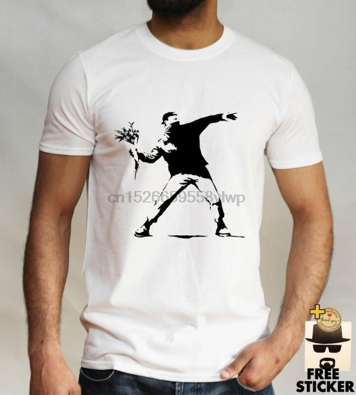 Camiseta Banksy Graffiti Sreet Art, gorra de béisbol, flor bomba lanzador Rage para hombre