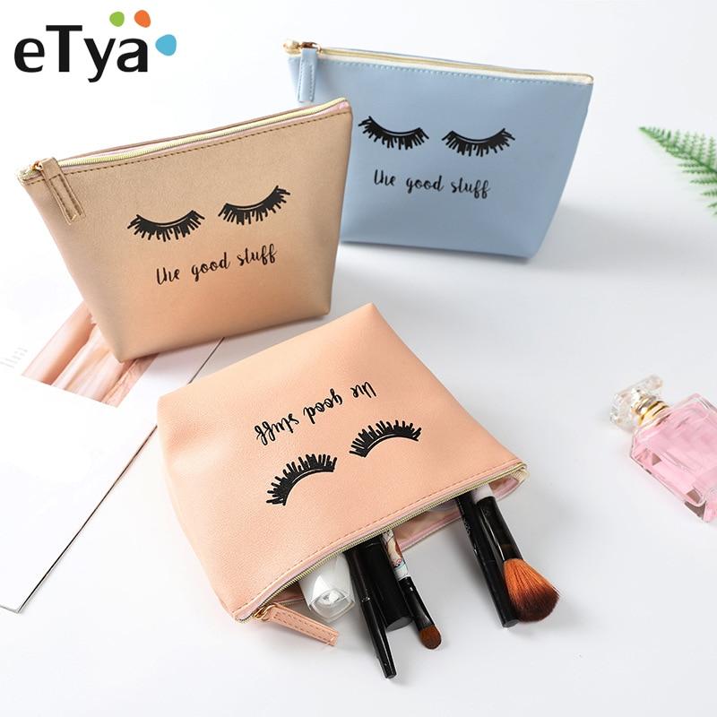 eTya Fashion Designer Leather Women Cosmetic Bags Waterproof Toiletry Makeup Travel Organizer Funny