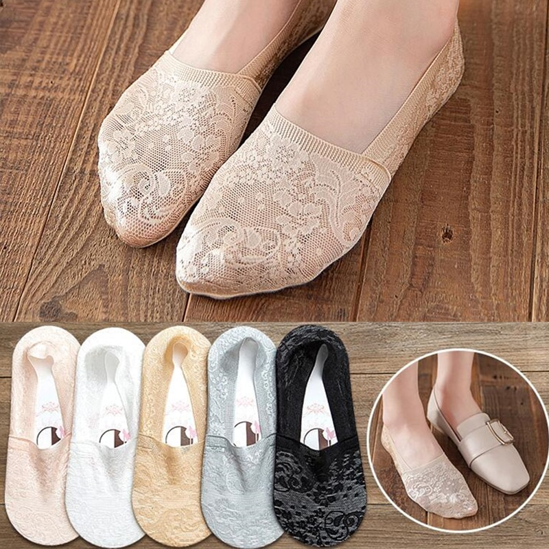 5 pairs summer women sexy lace socks silicone non-slip invisible socks slippers interesting flower pattern woman socks andrea lee interesting women