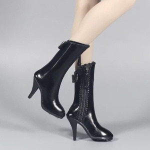 """1/6 Scale ZY1010 Female High Heel Shoes High Heels Zipper Leather Boots Shoes Empty Inside for 12"""" Female Action Figure"""