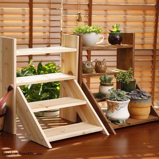 Mini estante de madera sólido de estilo escalera de uso múltiple de 4 niveles