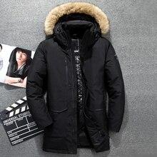 -51C Winter Genuine Fur Hooded Duck Down Jackets Men Warm Russia Down Coats Male Casual Winter Down Parkas Outdoor Ski Jacket