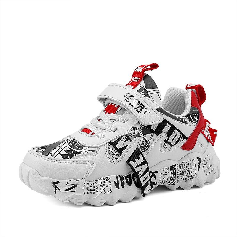 Fashion Children Graffiti Sneakers Casual Winter Waterproof Pu Leather Shoes for Boys Girls School S
