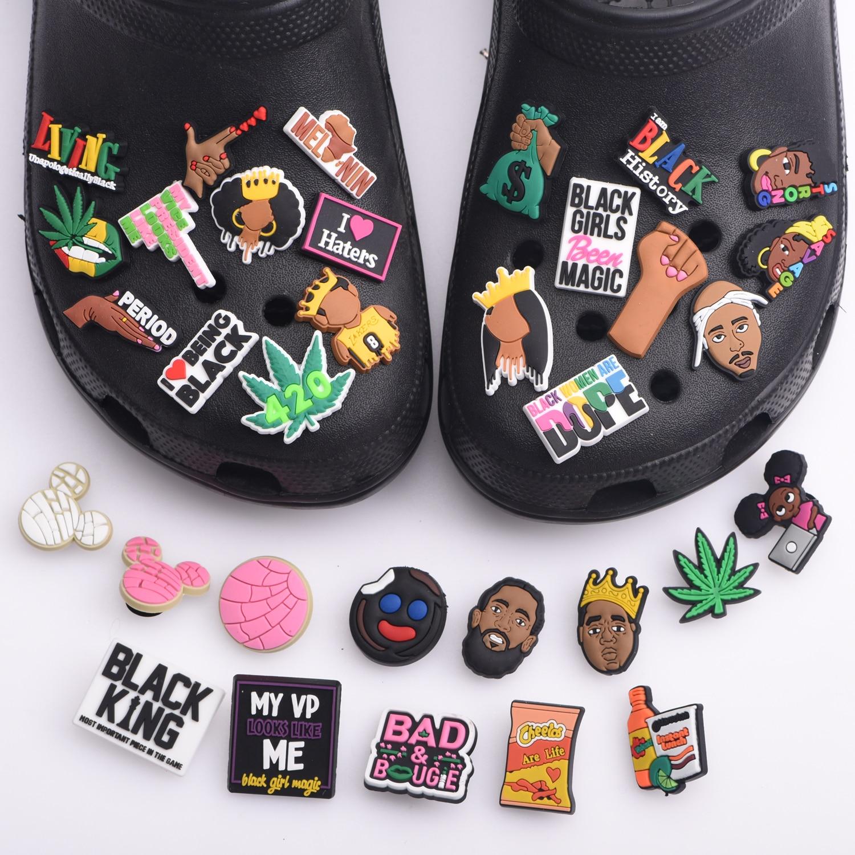 1 Pcs Black Girl Magic Croc Shoe Charms Accessories Decorations Clog Sandals PVC Black Lives Matter