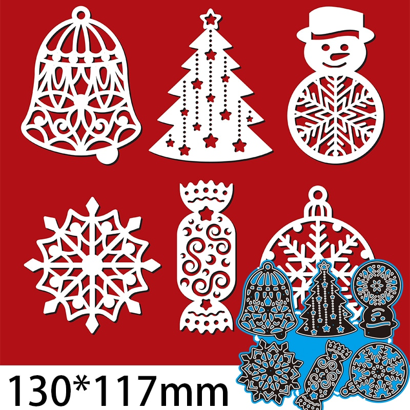 130*117mm Bell Snowflake Pine Candy Greeting Card Decorate Cutting Dies DIY Scrap Booking Photo Album Embossing Paper Cards