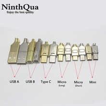 50 комплектов Micro Mini Type C USB 2,0 USB 3,1 Штекерный разъем, гнездо, никелированный/позолоченный для DIY дата-кабеля, Hi-Fi аудио адаптер