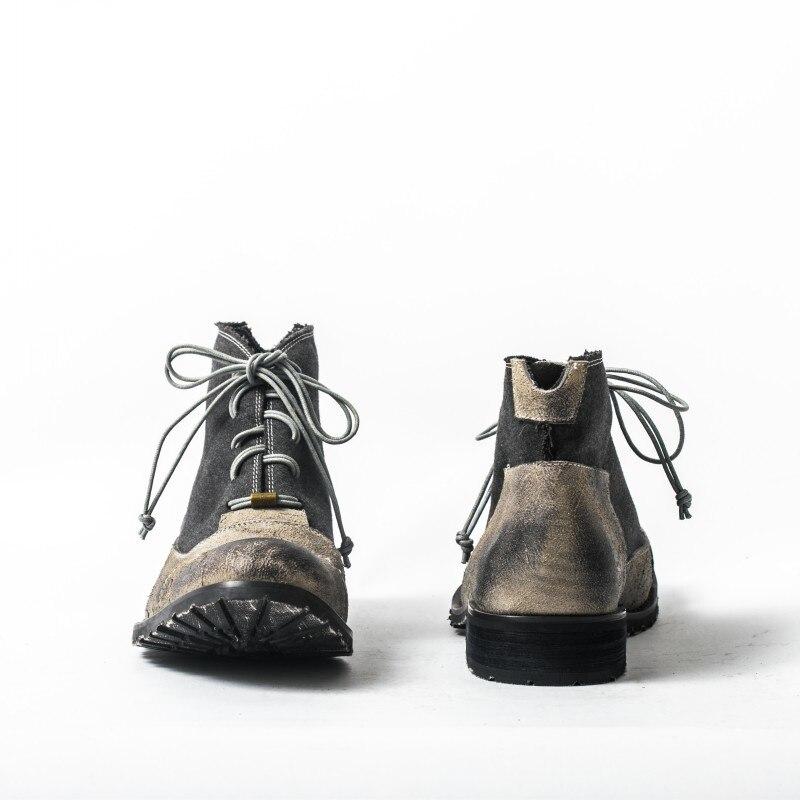 Vintage خليط جلد البقر أحذية الرجال الفاخرة مصمم الدانتيل يصل العمل حذاء من الجلد الرجعية جلد طبيعي شقة مع دراجة نارية الأحذية