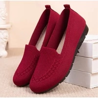 women loafers shoes knitted flats shoe woman comfort female breathable mesh slip on footwear casual ladies sneakers spring 2021