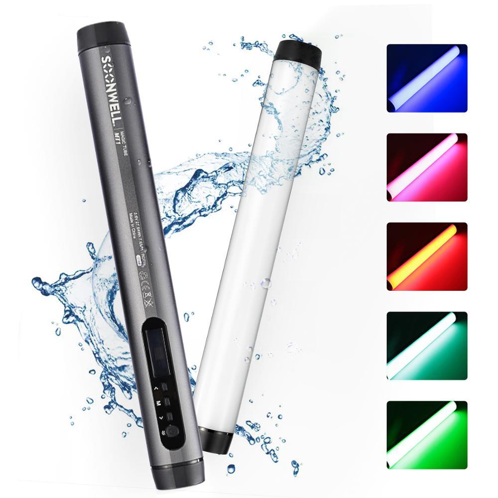 Soonwell MT1 RGB أنبوب ضوء ناعم ، محمول باليد ، التصوير الفوتوغرافي ، التحكم في تطبيق هاتف Android ، مقاوم للماء