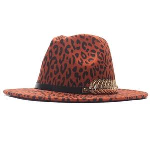 Women Men Wool Fedora Hat Leopard print  Elegant Lady Dad Winter Autumn Wide Brim Jazz Church Godfather Sombrero Caps With Leath