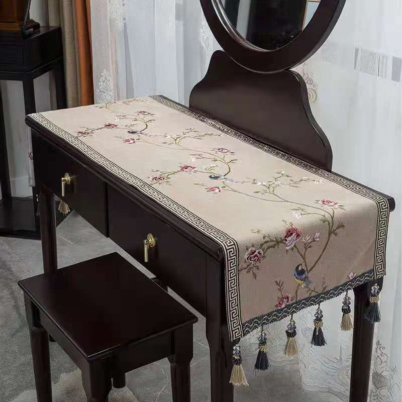 Custom Fine Embroidery Peony Flower Shoe Cabinet Covering Cloth Rectangle Living room Table Cloth Runner Cotton Linen Dust Cover enlarge