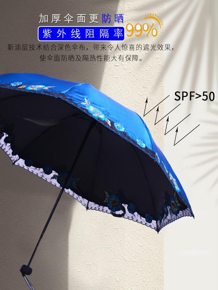 Rain Windproof Umbrella Handle Accessories Decoration Kawaii Umbrella Three Fold Lace Lolita Vogue Ombrello Home Garden AG50ZS enlarge