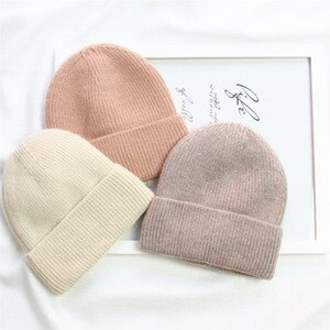 Autumn Winter Solid Color Knitted Beanie Hats For Men Women Couples Plus Velvet To Keep Warm Curly Trendy Woolen Cap A2
