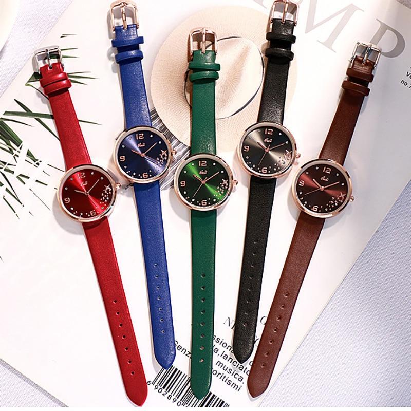 Women watches Fashion Pentagram Creative 5 Color Leather Quartz Watch Luxury Rhinestone Ladies Dress Watch Gift часыженские enlarge