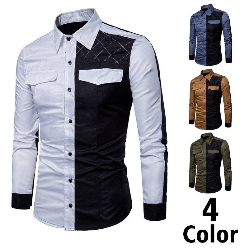 Мужская Повседневная рубашка в стиле милитари, черная классическая дышащая брендовая Классическая рубашка в стиле пэчворк, модель XXXL на ве...
